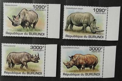 Burundi 2011 Mi.2110-3 9,5€ Nosorožci, africká fauna