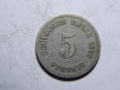 Německo Císařství 5 Pfennig 1898A VF-XF č29243