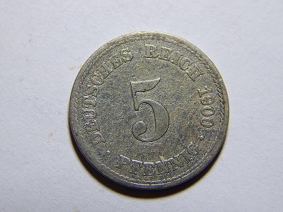 Německo Císařství 5 Pfennig 1900A VF č29633
