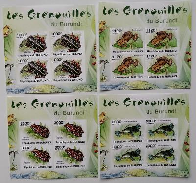 Burundi 2011 Mi.2066-9 36€ Africké žáby, obojživelníci, fauna, imperf.