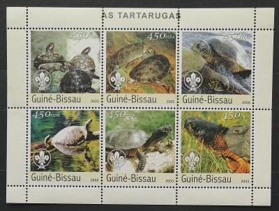Guinea-Bissau 2003 Mi.2578-3 11€ Želvy Afriky a skautská lilie, plazi