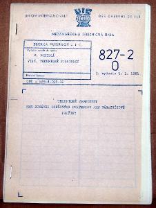 VYHLÁŠKA UIC 827-2 1981 TECHNICKÉ PODMIENKY NÁRAZNÍK ČSD VLAK VAGON