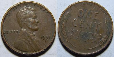 USA 1 Cent 1951D VF-XF č11869