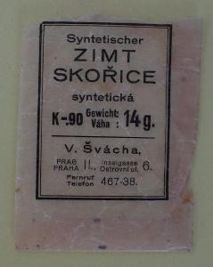 Skořice Praha II Ostrovní Ulice V. Švácha protektorát sáček