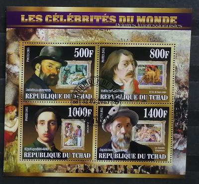 Čad 2015 - CTO aršík, Slavní impresionisté, Renoir, Degas, Cezanne
