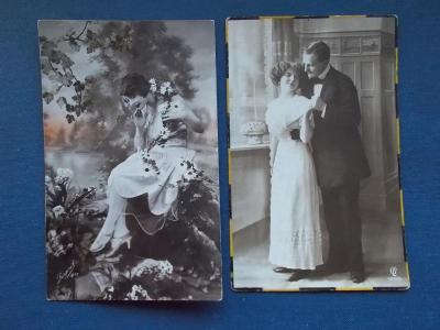Pohlednice umělecká móda zamilovaný pár láska kolorováno 2 x