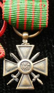 miniatura Válečný kříž Francie 1914-1918,citace,  miniatura