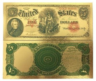 USA 5$ dolarů amerických dollars Zlatá bankovka fólie dolary