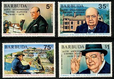 Barbuda 1975 Výročí OSN, Churchill, přetisky