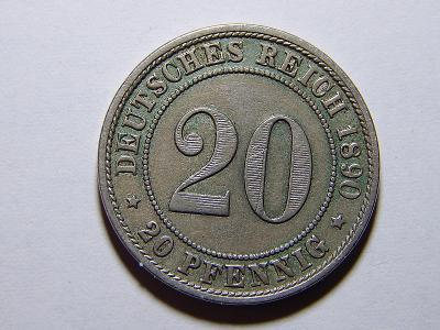 Německo Císařství 20 Pfennig 1890D XF č25255