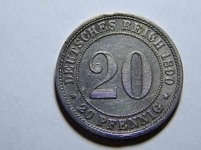 Německo Císařství 20 Pfennig 1890E RR XF č25262