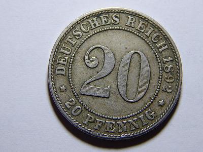 Německo Císařství 20 Pfennig 1892F XF č25260