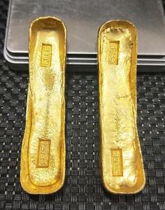 ČÍNA dynastie QING cihlička sycee ingot 140 gram cihla pozlacená kopie