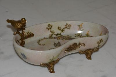 Zámecká miska s ptáčkem - porcelán + bronz-KRÁSNÁ