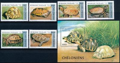 Togo 1996 **/ Mi. 2480-5 + Block 401 ,komplet , želvy , /L22/