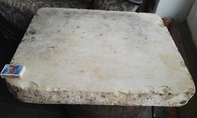 starý litografický vápencový kámen / VELKA 53.5 cm x 43.5 cm x 7 cm
