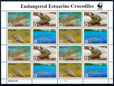 Palau 1994 **/ Mi. 690-3 aršík WWF , komplet , žáby , /L22/