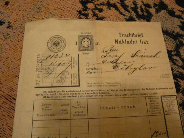 DĚHYLOV  1898  NÁKLADNÍ LIST    OPAVA TROPPAU - Antikvariát