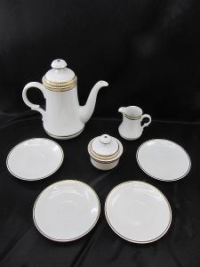 Kávová Čajová souprava bila se zlatom zn PMR BAVARIA