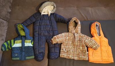 Dětská bunda 2x, kombinéza a vesta, vel. 6-12 měsíců