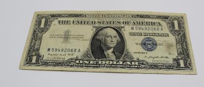 1 dollar USA  1957 silver certificate Z OBĚHU  stav 2-4