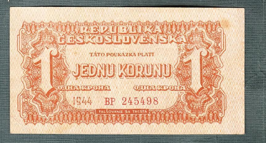 1 koruna 1944 serie BP neperforovana - Bankovky