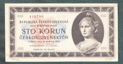 100 kčs 1945 serie C NEPERFOROVANA stav 1
