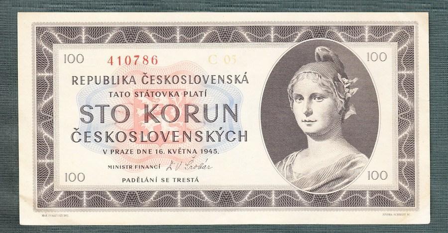 100 kčs 1945 serie C NEPERFOROVANA stav 1 - Bankovky