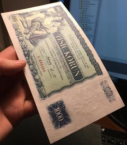 1000 korun 1934 serie L NEPERFOROVANA stav 1+
