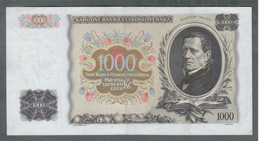 1000 korun 1934 serie L NEPERFOROVANA stav 1+ - Bankovky