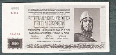 Protektorát 5000 korun 1944 NEPERFOROVANA stav 1+