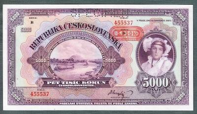 5000 korun 1920 PROTEKTORÁT perf. stav UNC