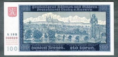 100 korun 1940 PRVNÍ VYDÁNÍ NEPERFOROVANA stav 1+