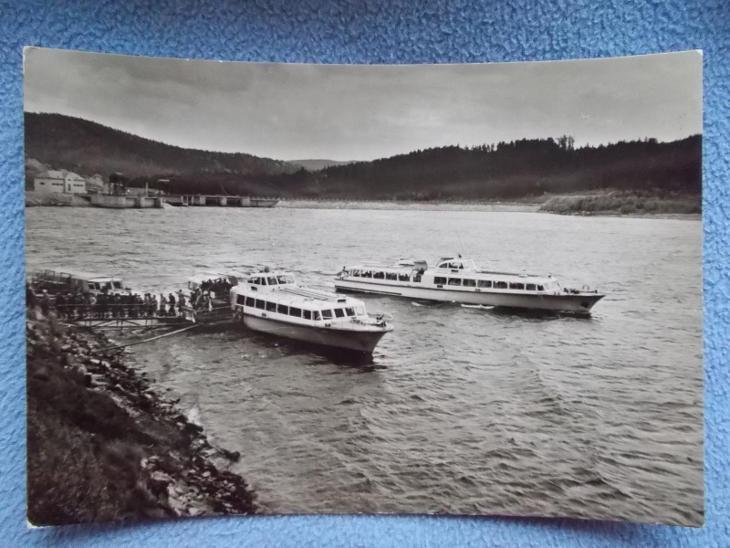 Český Krumlov Šumava Lipno přehrada výletní motorová lod - Pohlednice