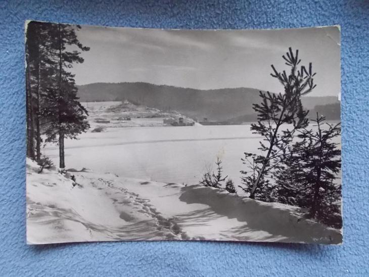 Český Krumlov Šumava Lipno přehrada jezero v zimě - Pohlednice