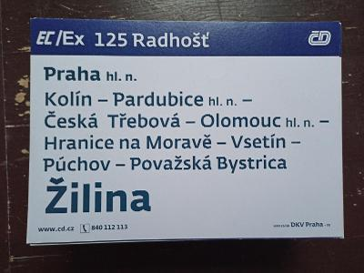 Směrová cedule EC/Ex 125/124 RADHOŠŤ