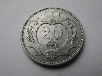 20 Haléř 1892  , František Josef I. , VZÁCNÝ !!!!  SBÍRKOVÝ  STAV !!!