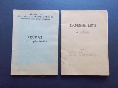 ČSR Průkaz pilota plachtaře žena ! Zápisník letů Ostrava Brno Medlánky