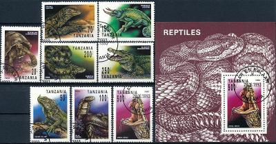 Tanzánie 1993 o/ Mi.1503-10 + Block 220 , komplet , plazi , /L22/