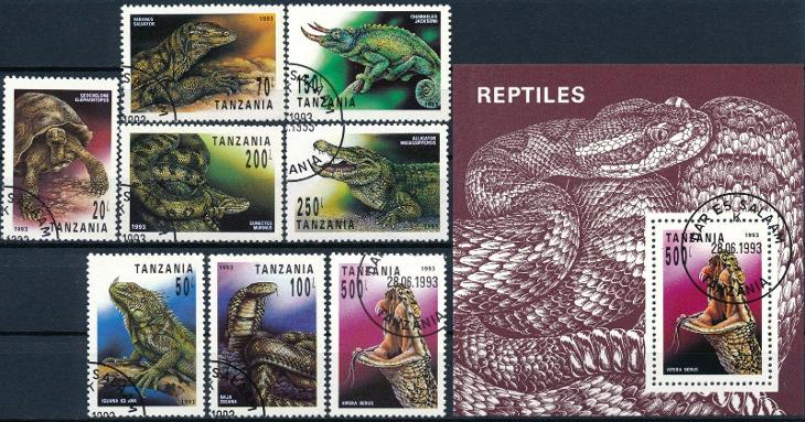 Tanzánie 1993 o/ Mi.1503-10 + Block 220 , komplet , plazi , /L22/ - Filatelie