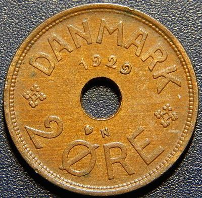 Dánsko 2 Ore 1929 N, GJ XF č28906