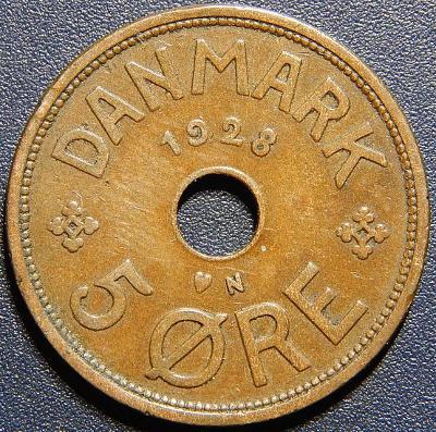 Dánsko 5 Ore 1928 N, GJ XF č28836