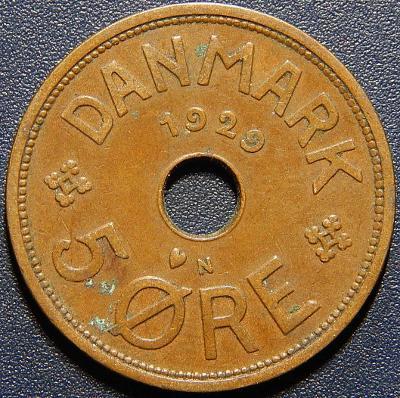 Dánsko 5 Ore 1929 N, GJ r XF č28839
