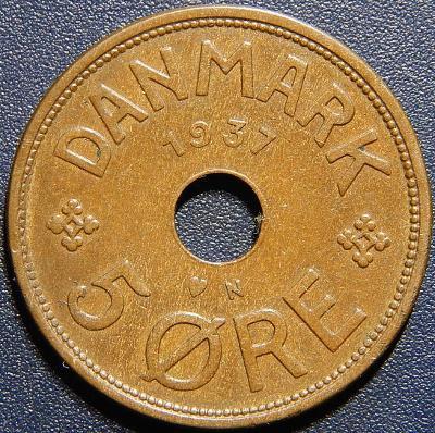 Dánsko 5 Ore 1937 N, GJ R XF č28837