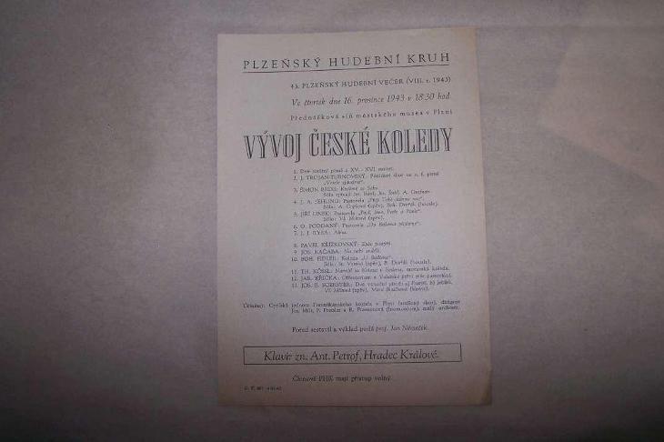 VÝVOJ ČESKÉ KOLEDY PLZEŇ 1943 /B165/ - Antikvariát