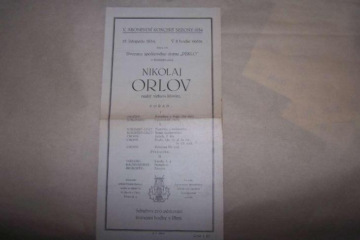 KONCERT NIKOLAJ ORLOV PEKLO POBŘEŽNÍ ULICE     PLZEŇ 1934 /B165/ - Antikvariát