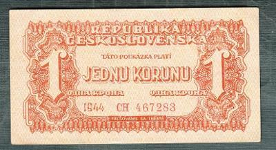 1 koruna 1944 serie CH neperforovana stav 1+