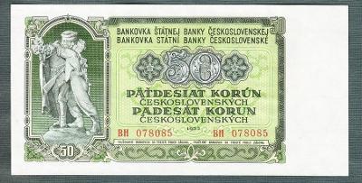 50 kčs 1953 serie BH neperforovana stav UNC