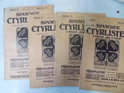 Starý časopis Šimáčkův čtyřlístek sada 1913 věda zdraví společnost