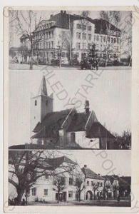 Červené Pečky - škola, kostel, obchod